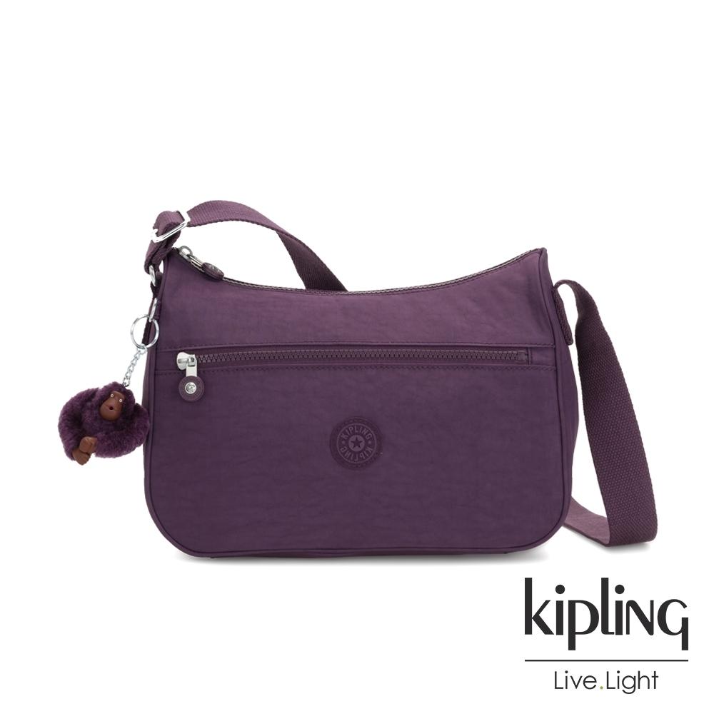 Kipling 低調奢華深紫色拉鍊側背包-SALLY