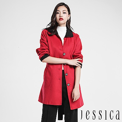 JESSICA - 翻領跳色排釦設計大衣(紅)