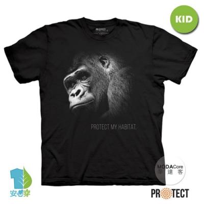 摩達客-預購-美國The Mountain保育系列 保護猩猩 兒童黑色純棉短袖T恤