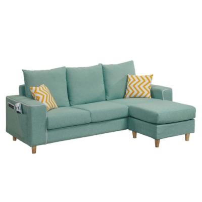 文創集 柯斯簡約風亞麻布L型沙發組合(三人座+椅凳)-199x154x85cm免組