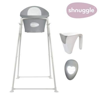 【英國Shnuggle】月亮澡盆四件組-月亮澡盆(皇家限定款)+專用架U2+小小水瓢+變色溫度計