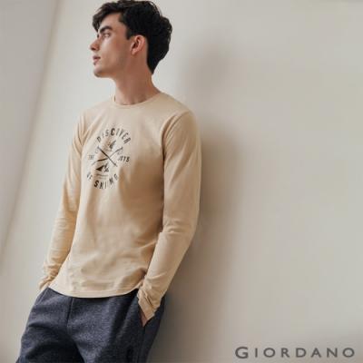 GIORDANO 男裝GO SKIING印花長袖T恤-02 黃杏