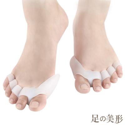 任選-足的美形 矽膠趾骨5孔重疊分趾套 (1雙)