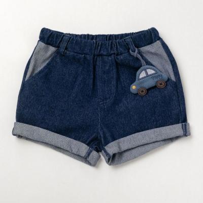 PIPPY小汽車針織仿牛仔短褲 藍