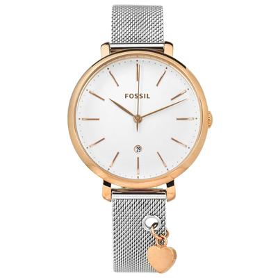 FOSSIL Jacqueline 愛心米蘭編織不鏽鋼手錶-銀白x玫瑰金/36mm