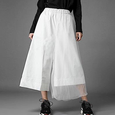 不規則網紗拼接挺版寬版褲-(共二色)Andstyle