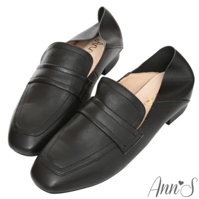 Ann'S會呼吸的舒適-小羊皮全真皮兩穿平底穆勒紳士鞋-黑(版型偏大)