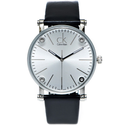 CK Calvin Klein 鏡面加厚款皮革手錶(K3B2T1C6)-銀面/42mm