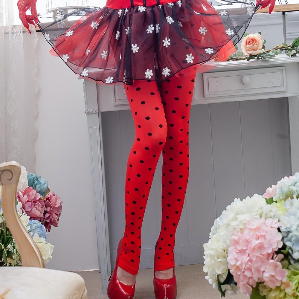 聖誕襪 可愛點點褲襪 紅色褲襪不透膚造型性感絲襪 流行E線