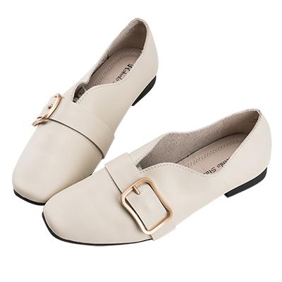 Robinlo 知性文青百搭柔軟可折平底鞋 米白