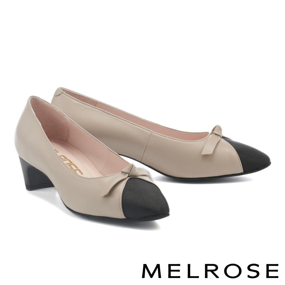 高跟鞋 MELROSE 異材質拼接蝴蝶扭結羊皮小方頭高跟鞋-灰
