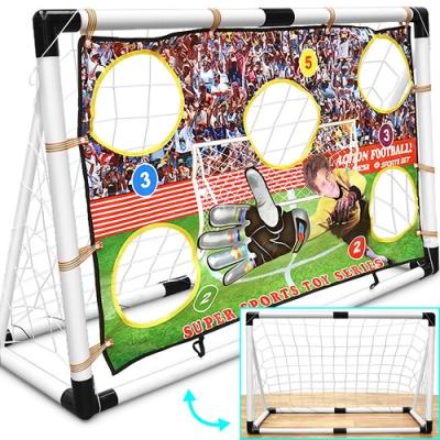 互動遊戲2IN1足球門架 (可拆卸足球門框/兒童小孩踢足球架/擋布射門球框練習/室內戶外親子娛樂玩具)