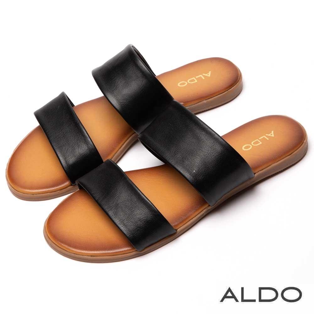 ALDO 原色真皮寬版鏤空鞋面木紋跟涼拖鞋~尊爵黑色
