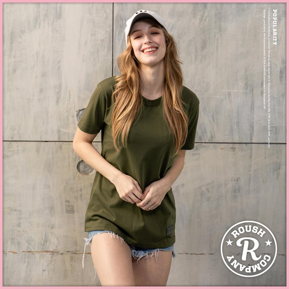 Roush 女生OVER SIZE 高磅數純色短TEE(11色) (軍綠)
