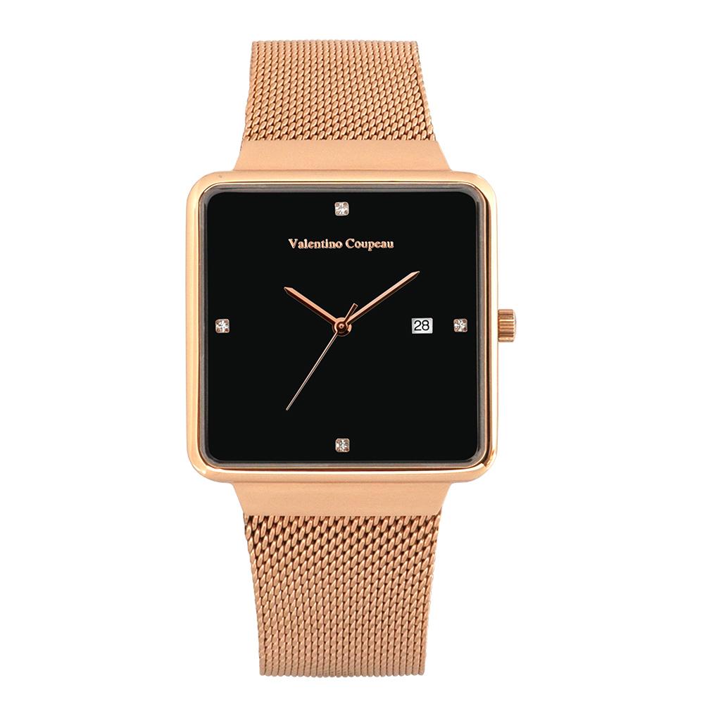 Valentino Coupeau 范倫鐵諾 古柏 輕巧極簡設計腕錶【玫瑰/米蘭/黑珠】
