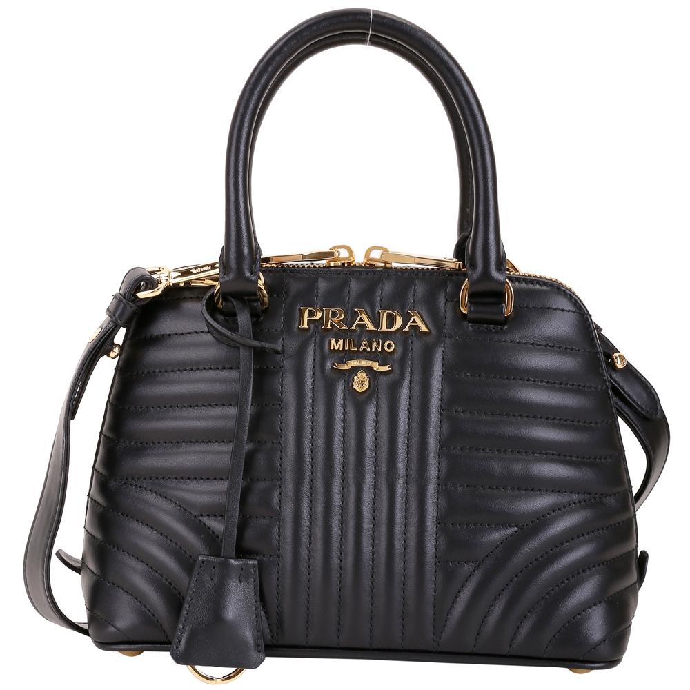 PRADA Diagramme 絎縫小牛皮手提肩背貝殼包(黑色)PRADA