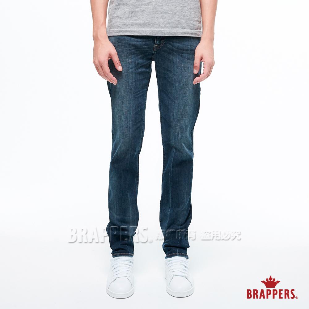 BRAPPERS 男款 HM-中腰系列-中腰彈性修身直筒褲-藍