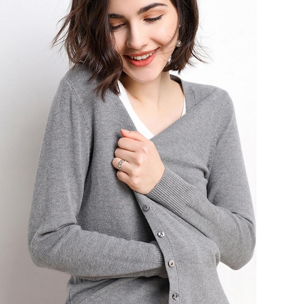 【KISSDIAMOND】簡約V領開襟針織衫外套-KD-SW812