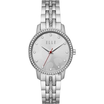 ELLE Women 系列愛戀心型晶鑽時尚女錶-銀x34mm ELL21027