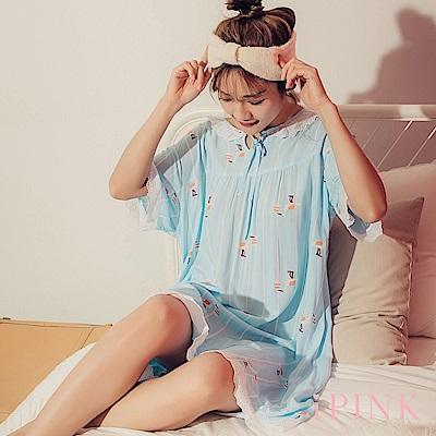 i PINK 清新甜夢 冰絲棉涼感連身裙居家服睡衣(藍送子鳥)