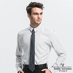 Emilio Valentino 范倫提諾修身條紋長袖襯衫-灰條