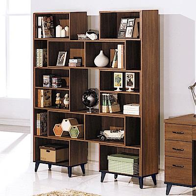 AS-艾莎淺胡桃4尺伸縮書櫥-121x30.3x192.5cm