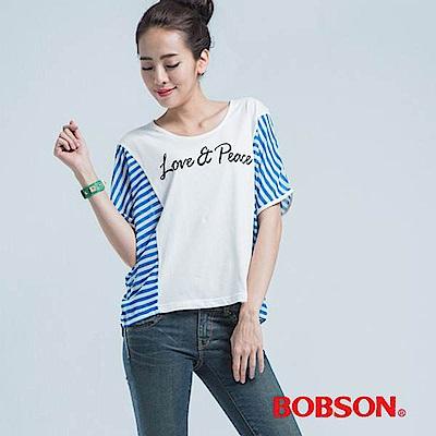 BOBSON 女款條紋LOVE印圖短袖上衣(米白81)