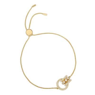 SWAROVSKI 施華洛世奇 Further璀璨水晶環形交織可調整金色手鍊
