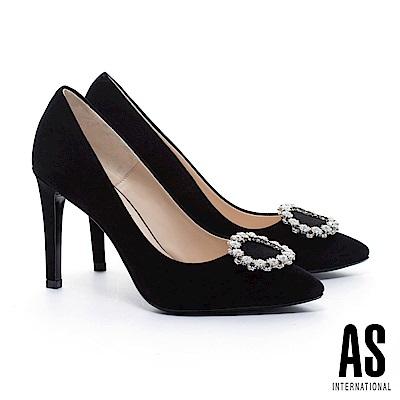高跟鞋 AS 奢華白鑽圓釦羊麂皮美型尖頭高跟鞋-黑