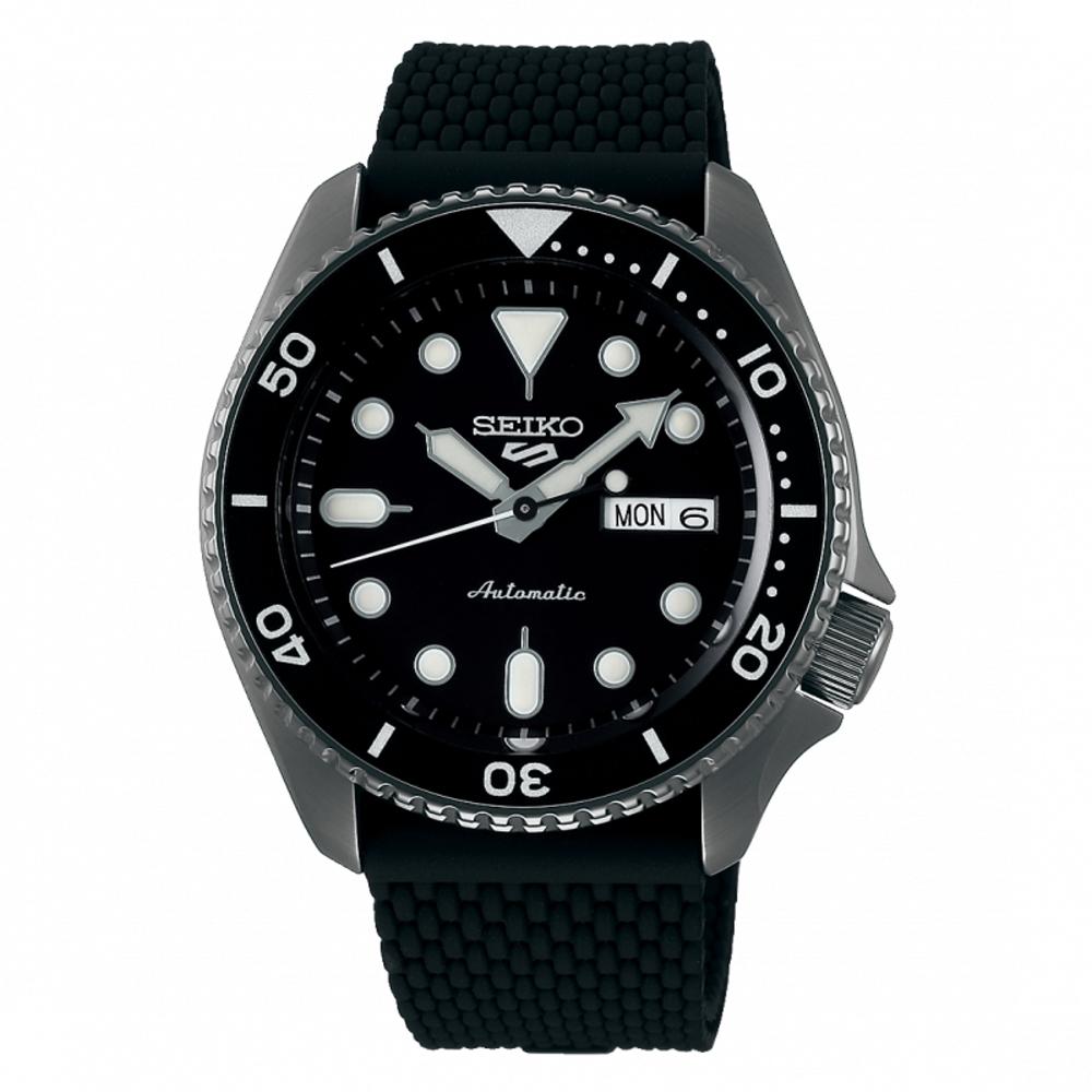 SEIKO 5sport運動潮流機械腕錶/黑色橡膠4R36-07G0K(SRPD65K2)