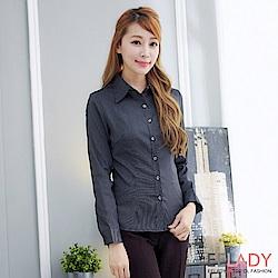 EELADY-OL知性線條長袖襯衫(黑色)