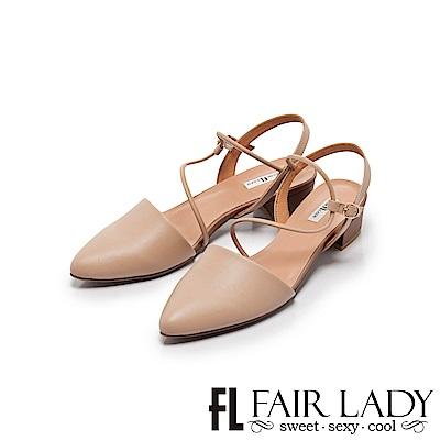 Fair Lady Hi Sporing 法式繞帶尖頭低跟涼鞋 粉
