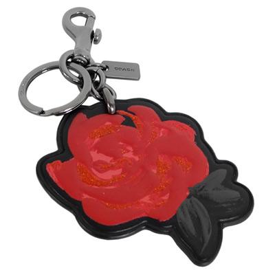 COACH紅色亮粉皮革玫瑰花造型雙扣環鑰匙圈