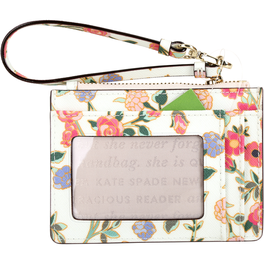 Kate Spade Cameron Street 花卉印花防刮皮證件夾/零錢包(奶油白)