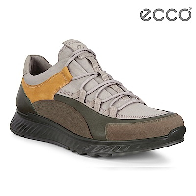 ECCO ST.1 M 舒適動能拼色戶外運動鞋 男-灰/森綠/黃棕色