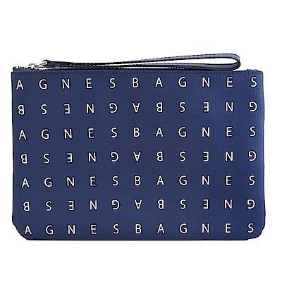 agnes b. LOGO標誌PU手拿包(小/深藍)