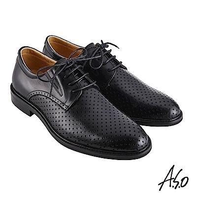 A.S.O職場通勤 職人通勤刷色沖孔德比紳士鞋-黑
