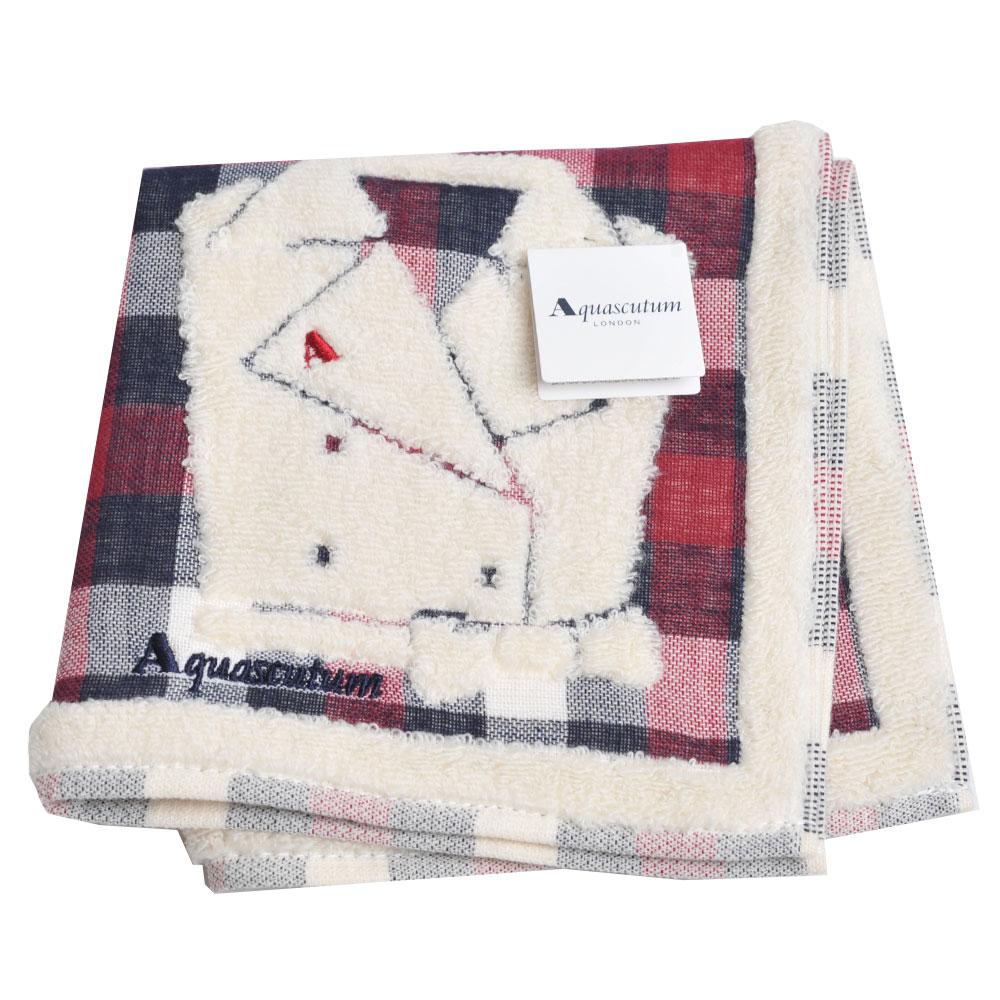 Aquascutum 經典品牌格紋風衣圖騰字母LOGO刺繡小方巾(黑紅白格)