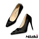 Miaki-高跟鞋優質緞面小資尖頭鞋-黑