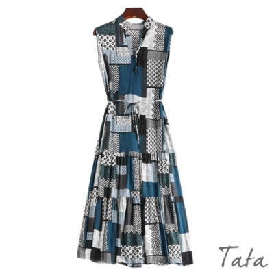 幾何圖騰拼塊無袖洋裝 TATA
