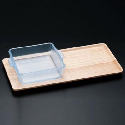 日本ADERIA 陶瓷塗層耐熱玻璃烤盤附木托盤-方形400ml