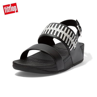 FitFlop LULU WRAPPED WEAVE BACK-STRAP SANDALS 金屬色編織造型後帶涼鞋-女(黑色)