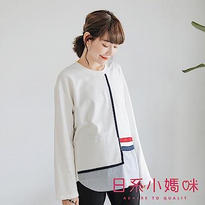 日系小媽咪孕婦裝-韓製孕婦裝~假二件配色滾邊拼接條紋襯衫上衣 (共三色)