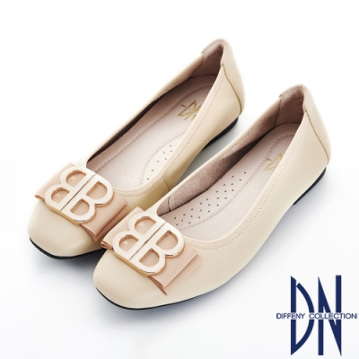 DN 舒適樂活 真皮金屬蝴蝶結飾扣平底鞋-米
