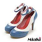 Miaki-高跟鞋真皮鉚釘個性女伶繞踝繫帶包鞋-藍