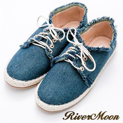 River&Moon休閒鞋-率性抽鬚單寧繫帶麻編鞋-藍