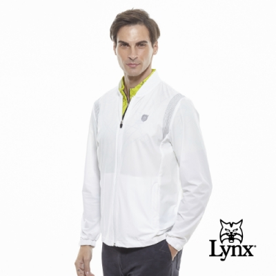 【Lynx Golf】男款防潑水反光印花羅紋棒球領長袖外套-白色