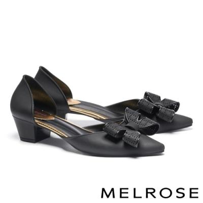 高跟鞋 MELROSE 氣質典雅蝴蝶結造型尖頭高跟鞋-黑