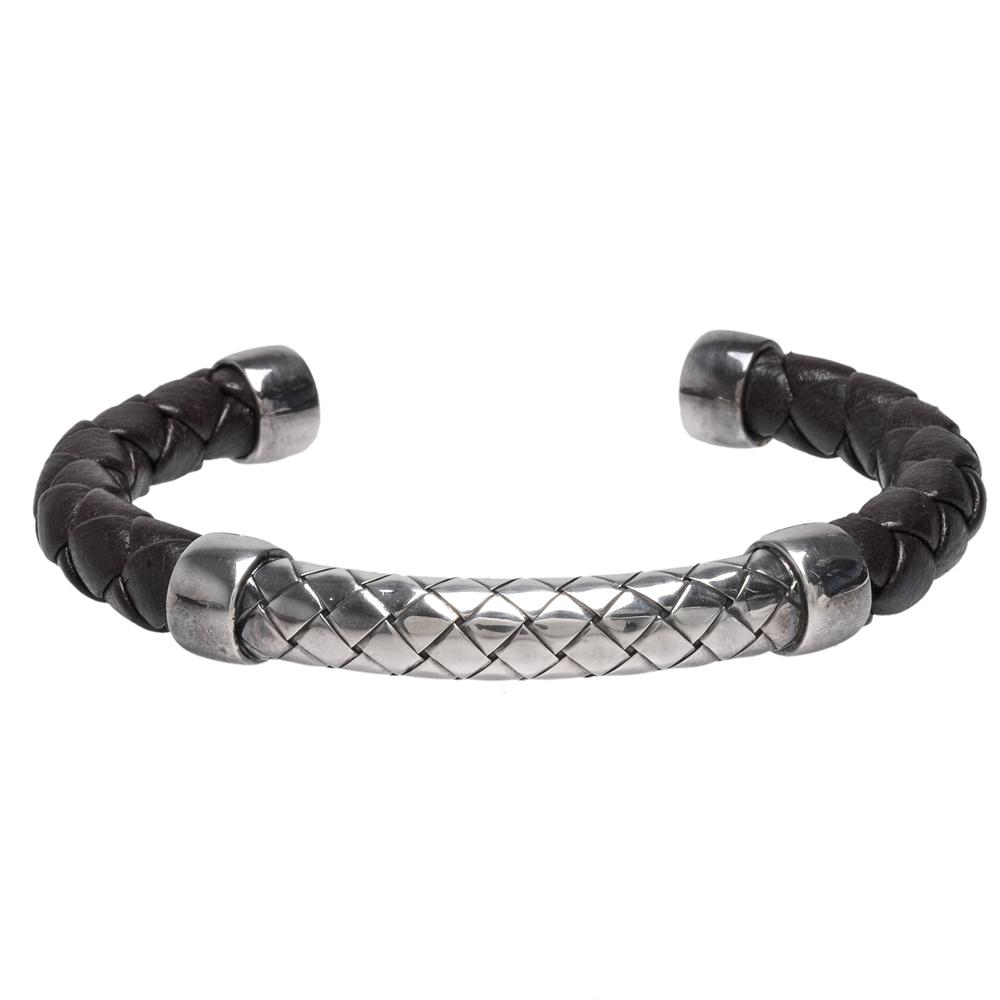 BOTTEGA VENETA 925純銀X牛皮編織造型開口手環(深咖)