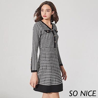SO NICE經典維希格紋針織洋裝 @ Y!購物